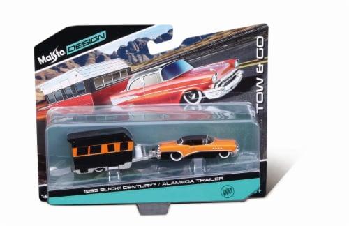 Maisto Design Tow & Go 1955 Buick Century & Alameda Trailer - Orange/Black Perspective: front