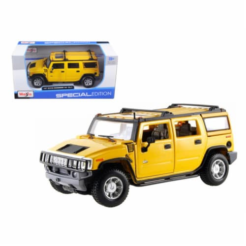 2003 Hummer H2 SUV Yellow 1/27 Diecast Model Car by Maisto Perspective: front