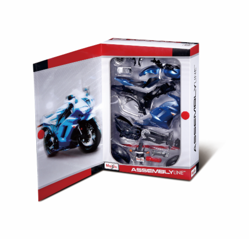 Maisto R/C 1:12 Assembly Line Motorcycle - Blue Perspective: front