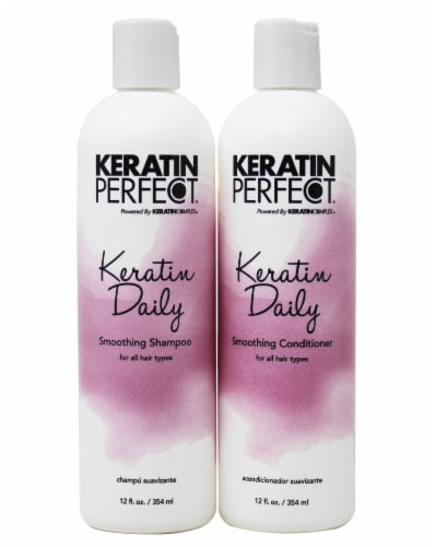 Keratin Perfect Daily Smoothing Shampoo & Conditioner Set Perspective: front