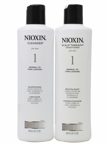 Nioxin Cleanser Shampoo and Scalp Therapy Conditioner Perspective: front