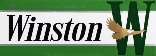 Winston Plant-Based Menthol Green Box 100's Cigarettes Perspective: front