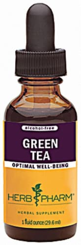Herb Pharm Green Tea Alcohol Free Optimal Well-Being Herbal Supplement Perspective: front