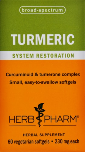 Herb Pharm Turmeric Herbal Supplement Softgels Perspective: front