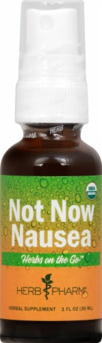Herb Pharm Herbs on the Go Not Now Nausea Organic Herbal Supplement Perspective: front
