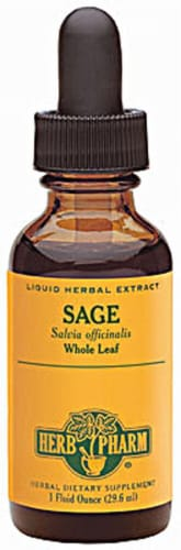 Herb Pharm Organic Whole Leaf Sage Liquid Herbal Supplement Perspective: front