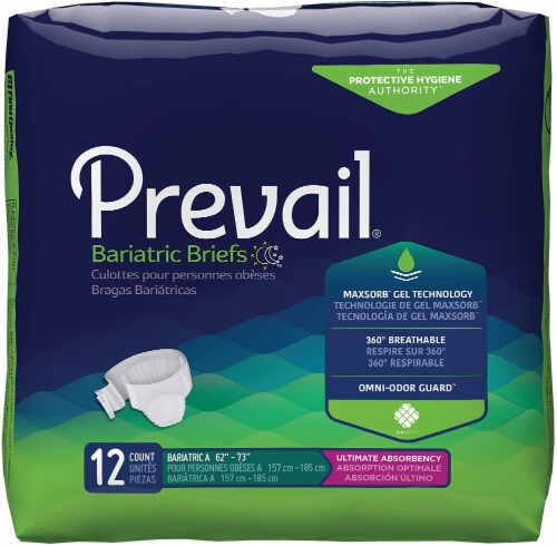 Unisex Adult Incontinence Brief Prevail® Bariatric Size A Disposable Heavy Absorbency (12 BG) Perspective: front