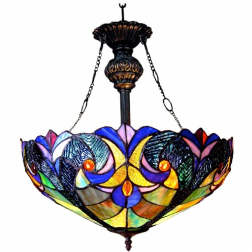 CH18780VT18-UH2 LIAISON Tiffany-style 2 Light Victorian Inverted Ceiling Pendant 18  Shade Perspective: front