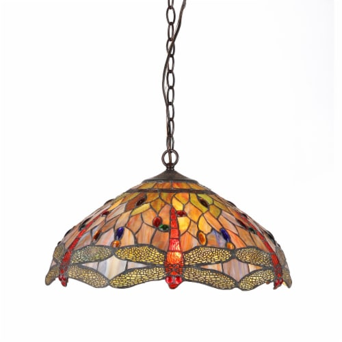 CH32825DB18-DH3 ANISOPTERA PURITY Tiffany-style 3 Light Dragonfly Ceiling Pendant Fixture 18 Perspective: front