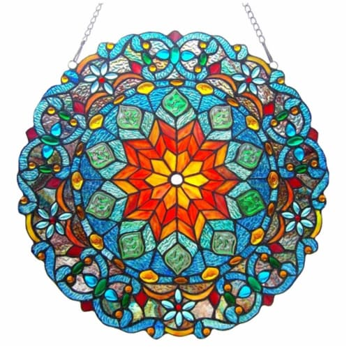 """CH1P148MB21-GPN CHLOE Lighting BLOSSOM Tiffany-glass Round Window Panel 21"""" Wide Perspective: front"""