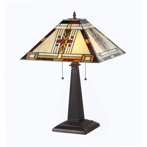 CHLOE Lighting GODE Tiffany-style 2 Light Mission Table Lamp 16  Shade Perspective: front