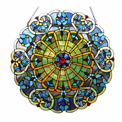 CH1P145VB23-GPN CHLOE Lighting WILLA Tiffany-glass Victorian Window Panel 23 Perspective: front