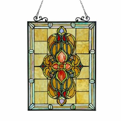 CH3P320VI24-GPN CHLOE Lighting AVALON Tiffany-glass Victorian Window Panel 18x25 Perspective: front