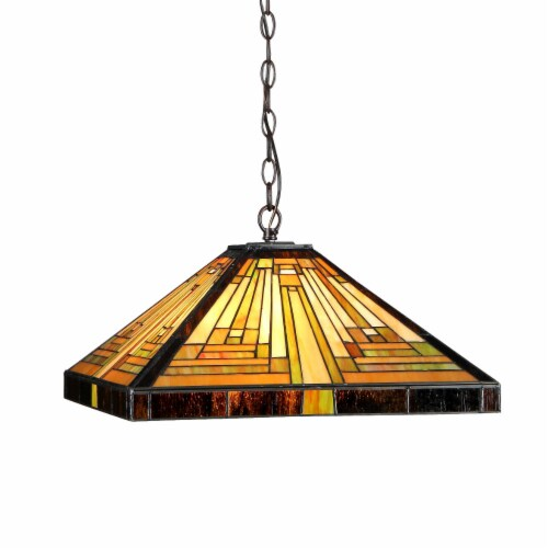 """INNES Tiffany-style 2 Light Mission Ceiling Pendant Fixture 16"""" Shade Perspective: front"""