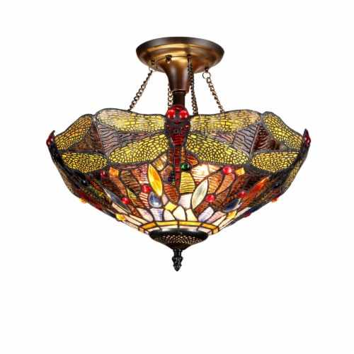 """CH33341DY16-UF2 DRAGAN Tiffany-style 2 Light Dragonfly Semi-flush Ceiling Fixture 16"""" Shade Perspective: front"""