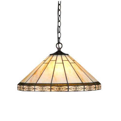 """CHLOE Lighting BELLE Tiffany-style 2 Light Mission Ceiling Pendent 18"""" Shade Perspective: front"""