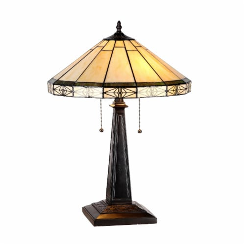 CHLOE Lighting BELLE Tiffany-style 2 Light Mission Table Lamp 16  Shade Perspective: front