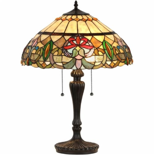 """CH33360VR18-TL2 CHLOE Lighting HESTER Tiffany-style 2 Light Victorian Table Lamp 18"""" Shade Perspective: front"""