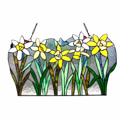 """CH1P178GF23-GPN CHLOE Lighting DAISY Tiffany-glass Flowers Window Panel 23"""" Wide Perspective: front"""