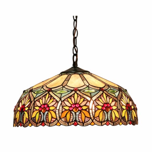 CHLOE Lighting SUNNY Tiffany-style 2 Light Floral Ceiling Pendant Fixture 18  Shade Perspective: front