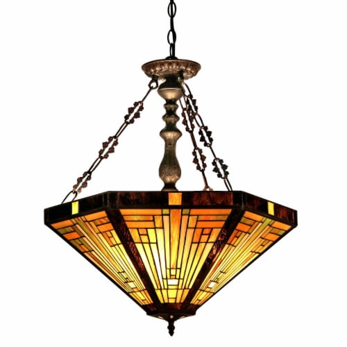 CH33359MR22-UH3 INNES Tiffany-style 3 Light Mission Inverted Ceiling Pendant Fixture 22 Perspective: front