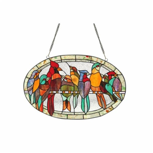 CH3P452RA23-GPN CHLOE Lighting KUNO Tiffany-glass Window Panel 23.5x15 Perspective: front