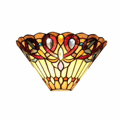 Victorian Style Wall sconce with Gem Design Cabochons , Black Perspective: front