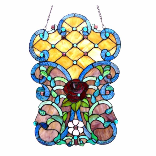 CH1P979VF24-GPN CHLOE Lighting ROZE Tiffany-glass Victorian Window Panel 24  Height Perspective: front