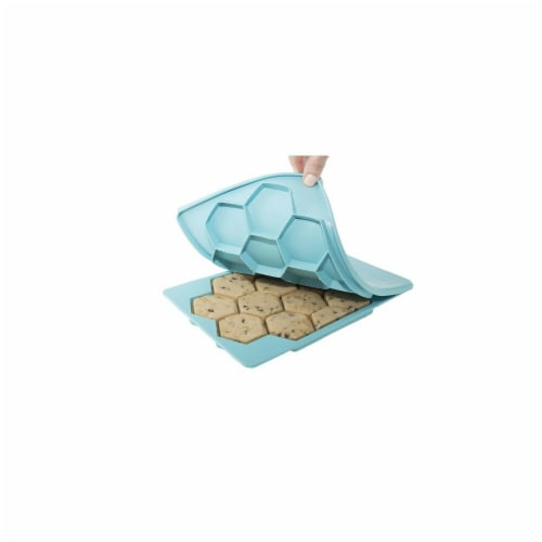 ShapeStore The Smart Cookie Innovative Cookie Cutter & Freezer Container, Blue Perspective: front