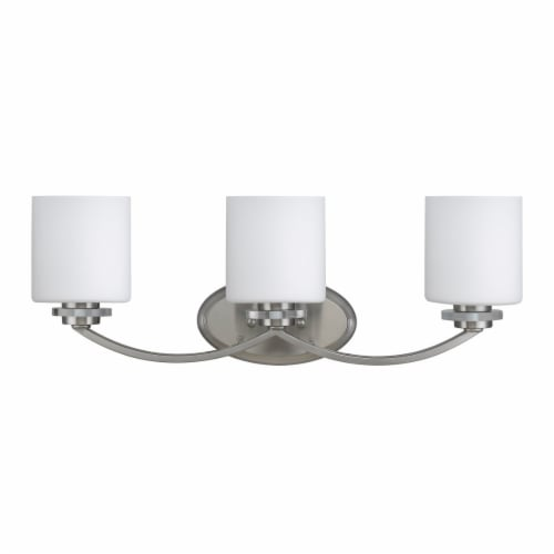 CH21015BN26-BL3 PRUDENCE Transitional 3 Light Brushed Nickel Bath Vanity Wall Fixture Etched Perspective: front