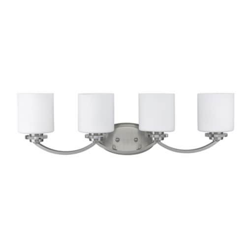 PRUDENCE Transitional 4 Light Brushed Nickel Bath Vanity Wall Fixture Etched Glass Perspective: front