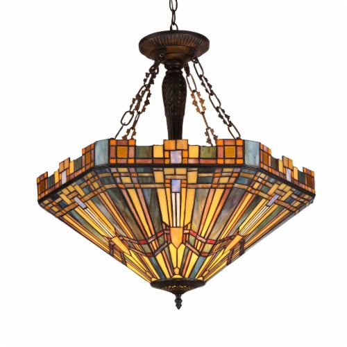 CH36432MS24-UH3 SAXON Tiffany-style 3 Light Mission Inverted Ceiling Pendant Fixture 24 Perspective: front