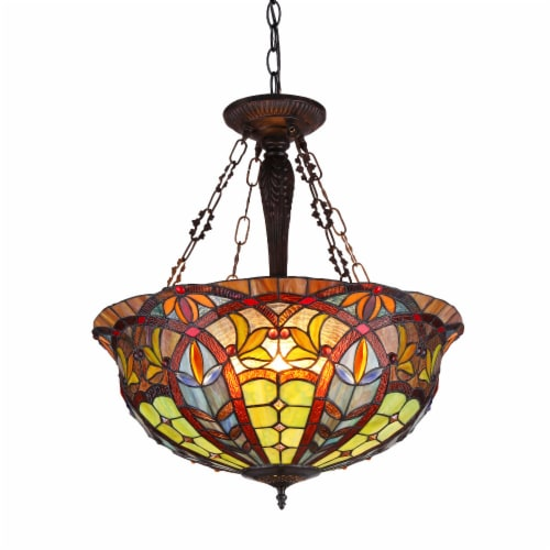 CH36475RV22-UH3 LORI Tiffany-style 3 Light Victorian Inverted Ceiling Pendant Fixture 22 Perspective: front