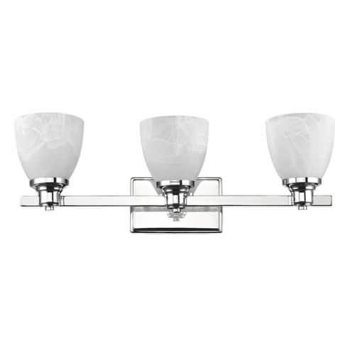 CH21034CM23-BL3 GEWNEVERE Transitional 3 Light Chrome Finish Bath Vanity WallFixture White Perspective: front