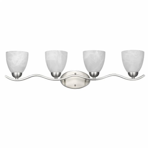 CH21037BN32-BL4 UNDINE Transitional 4 Light Brushed Nickel Bath Vanity Wall Fixture White Perspective: front