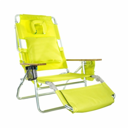 Ostrich Deluxe Padded 3-N-1 Outdoor Lounge Reclining Beach Chair, Lime Green Perspective: front