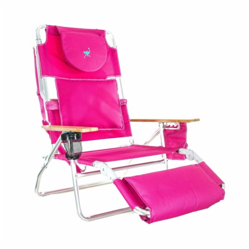 Ostrich Deluxe Padded 3-N-1 Outdoor Lounge Reclining Beach Lake Chair, Pink Perspective: front
