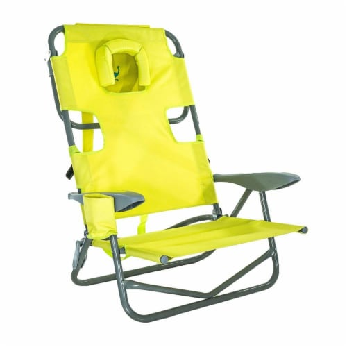 Ostrich On-Your-Back Outdoor Lounge 5 Position Reclining Beach Chair, Green Perspective: front