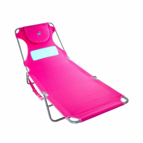 Ostrich Comfort Lounger Face Down Sunbathing Chaise Lounge Beach Chair, Pink Perspective: front