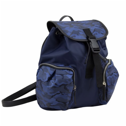 Bodhi Microfiber Fashion Drawstring Flap Backpack - Navy Camo Perspective: front