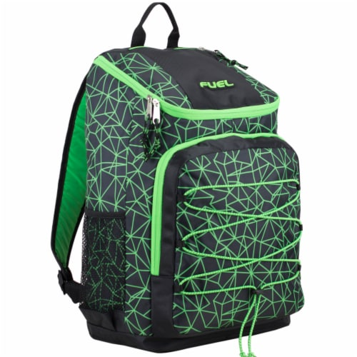Fuel Wide Mouth Bungee Backpack - Black/Lime Perspective: front