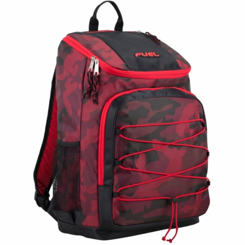 Fuel Wide Mouth Bungee Backpack - Red Camo Perspective: front