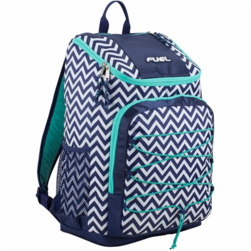 Fuel Wide Mouth Bungee Backpack - Chevron Deep Cobalt Perspective: front