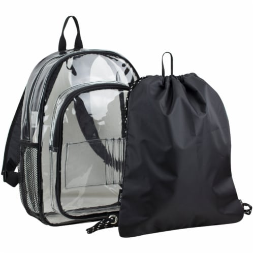 Fuel 2-PC Clear Backpack with Black Drawstring Cinchsack Perspective: front