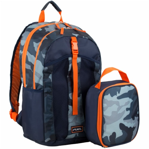 Fuel Deluxe Lunch Bag & Backpack Combo - Midnight Camo Perspective: front