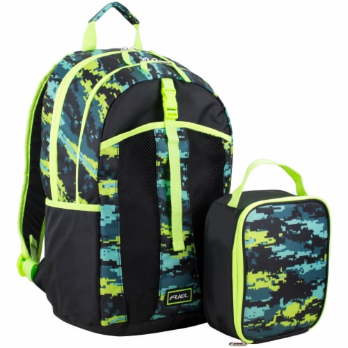 Fuel Deluxe Lunch Bag & Backpack Combo - Static Camo Perspective: front