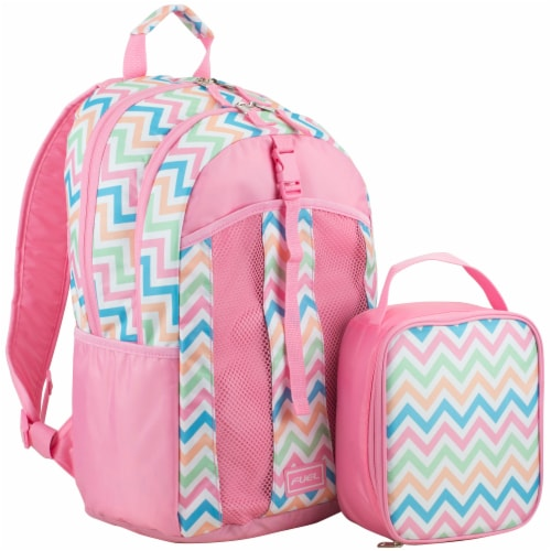 Fuel Deluxe Lunch Bag & Backpack Combo - Cotton Candy Chevron Perspective: front