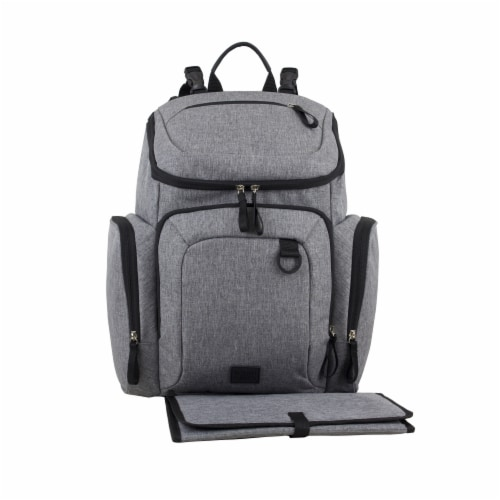 Bodhi Baby Wooster Street Diaper Backpack - Mid-grey Chambray Perspective: front