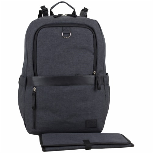 Bodhi Baby Rubin Weekender Tech Diaper Backpack - Black Chambray Perspective: front