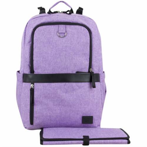 Bodhi Baby Rubin Weekender Tech Diaper Backpack - Purple Chambray Perspective: front